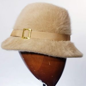 Vintage Kangol Hat Fuzzy Cream English Made EUC
